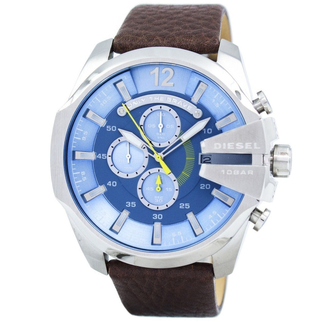 DIESEL | Steel Blue / Gunmetal / Brown Leather Mega Chief Men's Chrono Watch | DZ4281