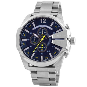 DIESEL | Silver / Cobalt Blue Mega Chief Men's Chronograph Watch | DZ4465