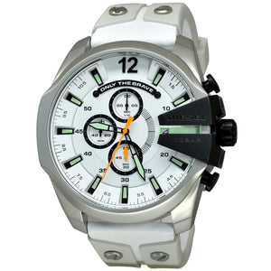 DIESEL | White / Granite / Green Mega Chief Men's Chronograph Watch | DZ4454