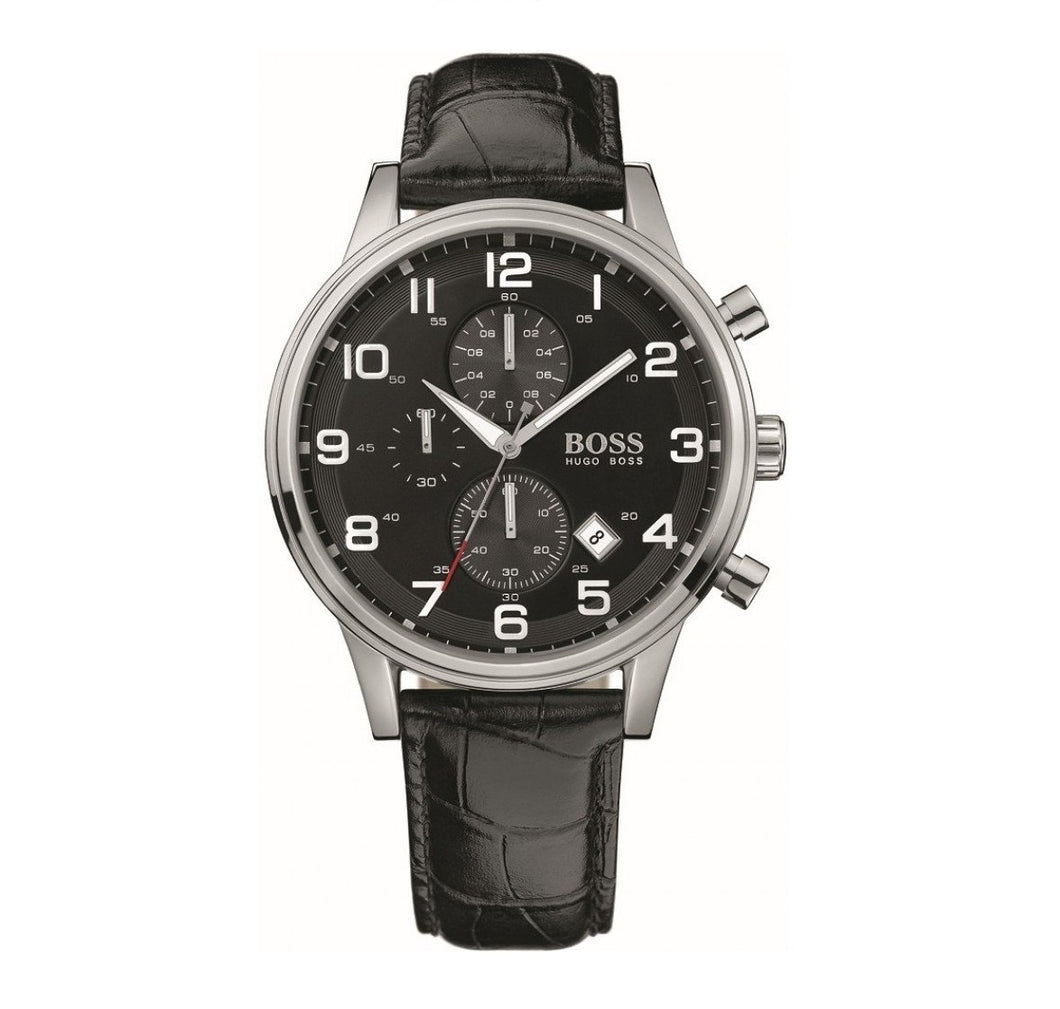 HUGO BOSS | Silver / Black Leather Men's Aeroliner Watch | 1512448