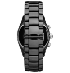 EMPORIO ARMANI | Black Ceramic / Silver Ladies' Chronograph Watch | AR1455