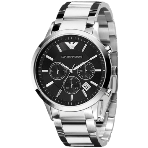 EMPORIO ARMANI | Black / Silver Classic Men's Chronograph Watch | AR2434