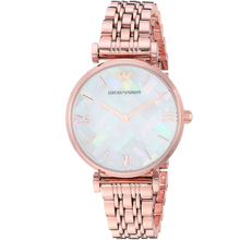 EMPORIO ARMANI | Mother of Pearl / Rose Gold Gianni T-Bar Ladies' Watch | AR11110