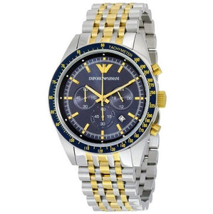 EMPORIO ARMANI | Midnight Blue / Gold / Silver Men's Chronograph Watch | AR6088