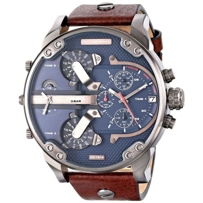 DIESEL | Navy Blue / Silver / Brown Leather Mr Daddy 2.0 Men's Chrono Watch | DZ7314