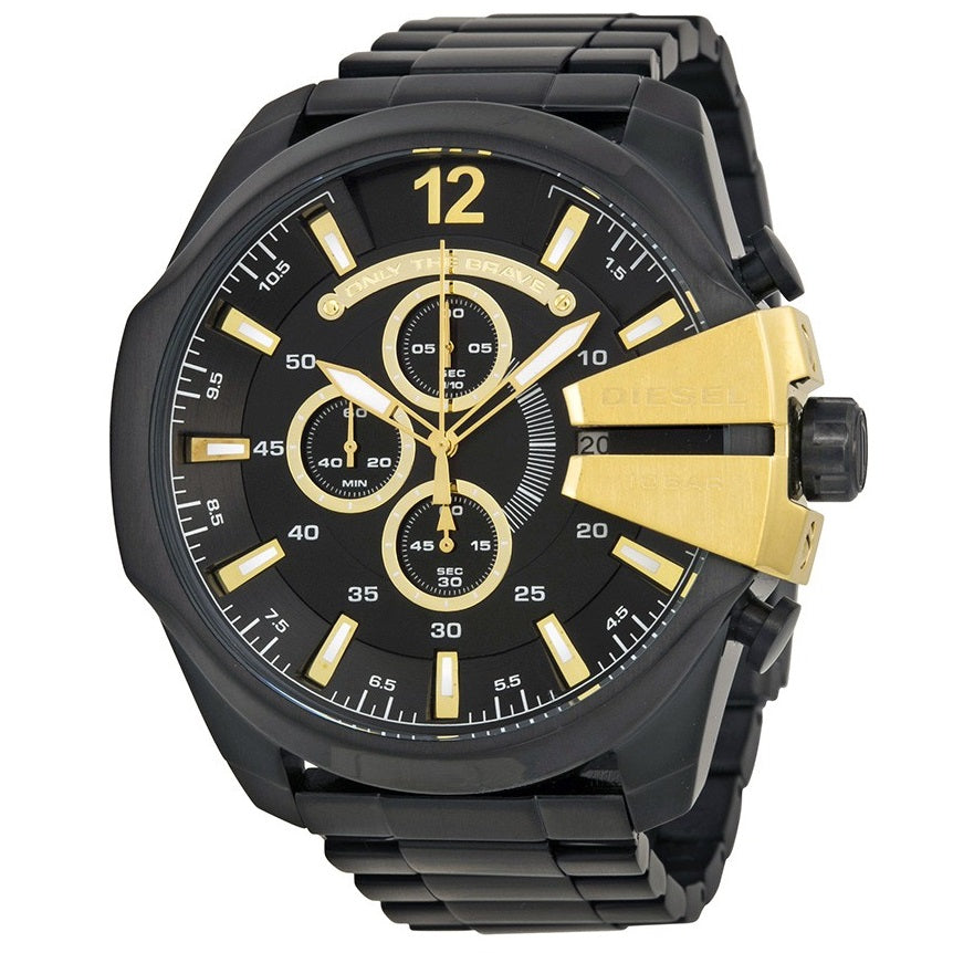 DIESEL | Black / Gold Mega Chief Men's Chronograph Watch | DZ4338