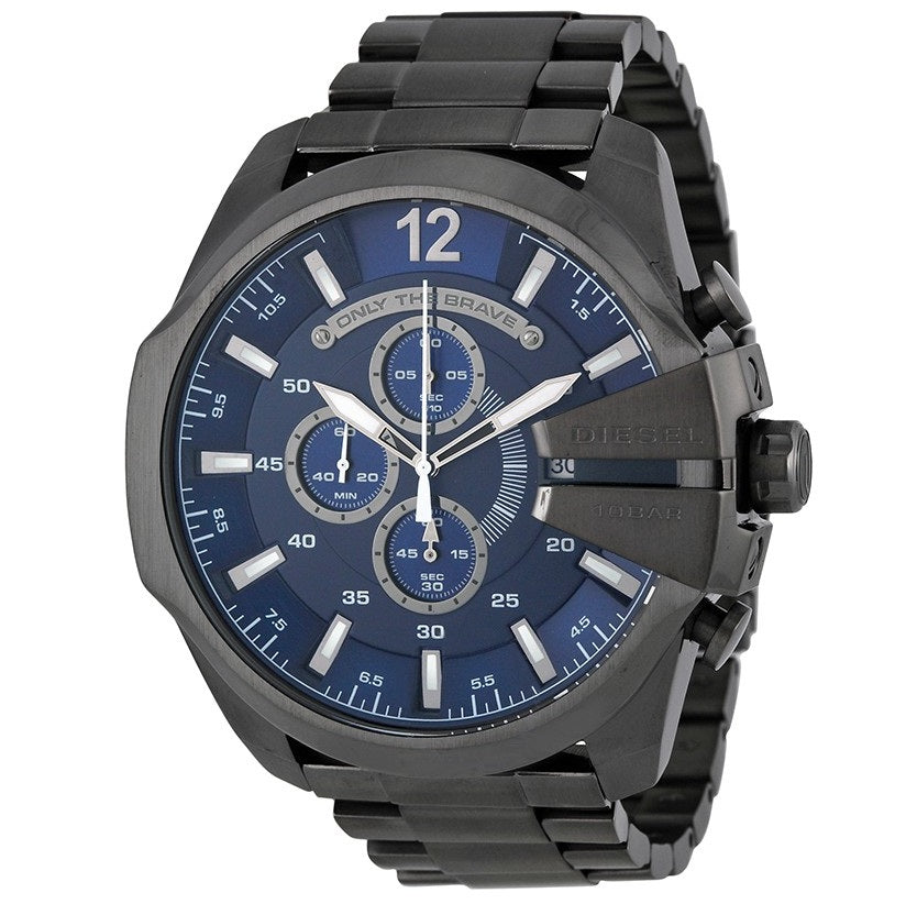 DIESEL | Gunmetal / Midnight Blue Mega Chief Men's Chronograph Watch | DZ4329