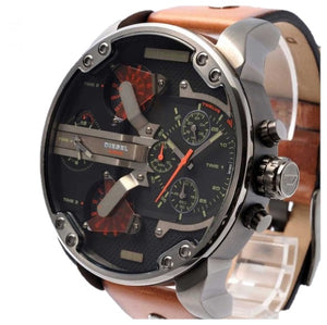 DIESEL | Black / Gunmetal / Brown Leather Mr. Daddy 2.0 Men's Chronograph Watch | DZ7332