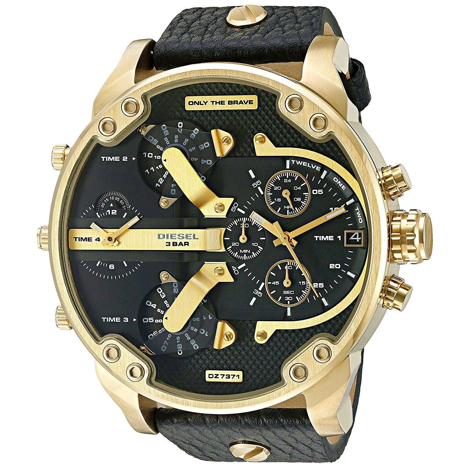 5e7718dfa DIESEL | Gold / Black Leather | Mr. Daddy 2.0 Men's Chronograph Watch |  DZ7371 ...