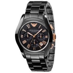 EMPORIO ARMANI | Black / Rose Gold Ceramica Men's Chronograph Watch | AR1410
