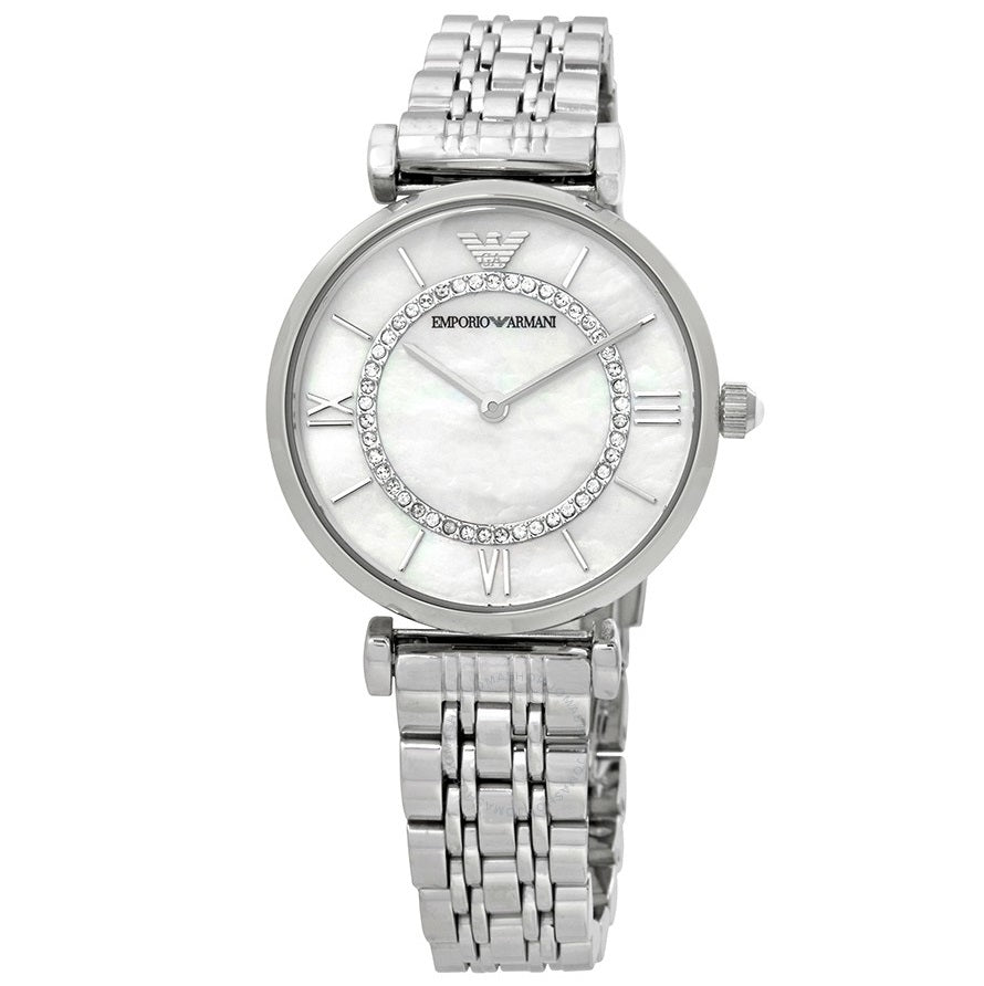 EMPORIO ARMANI | Mother of Pearl / Silver Gianni T-Bar Ladies' Watch | AR1908