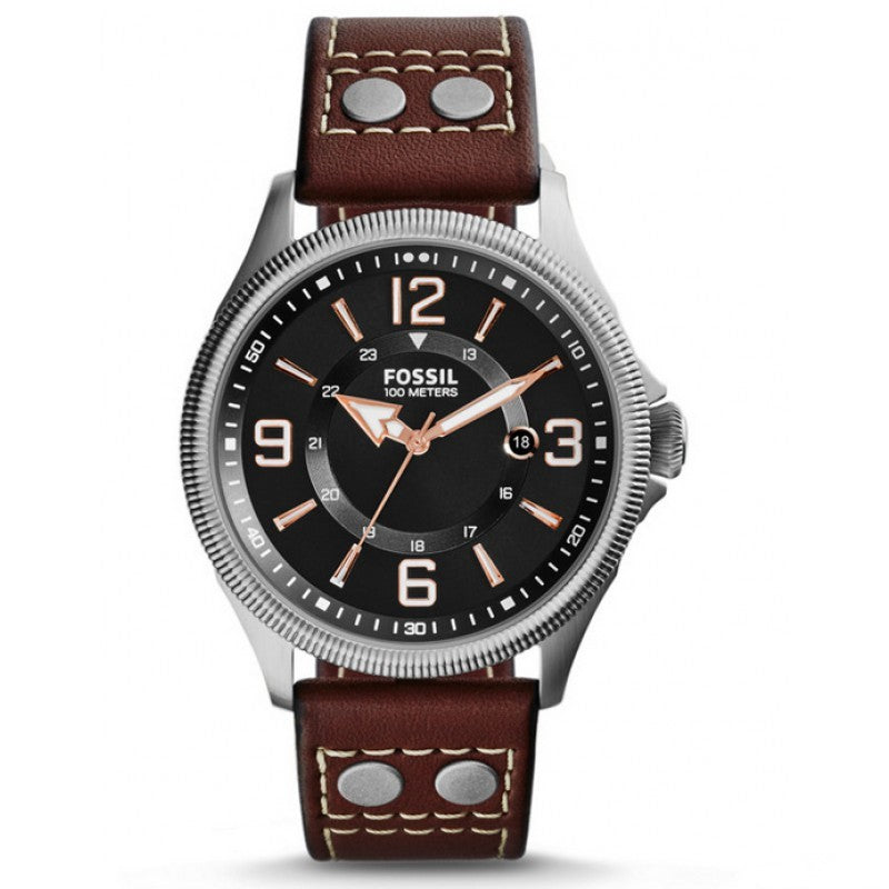FOSSIL | Black / Silver / Brown Leather Men's Recruiter Watch | FS4962