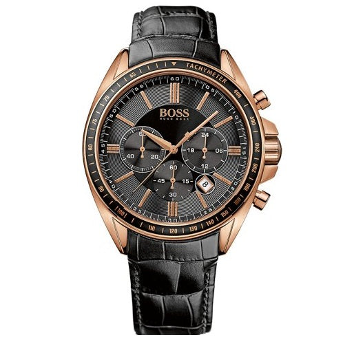 HUGO BOSS |  Black / Rose Gold Men's Driver Sport Chrono Watch | 1513092