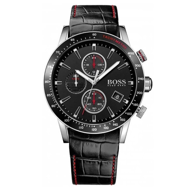 HUGO BOSS | Black / Silver / Red Men's Rafale Chronograph Watch | 1513390