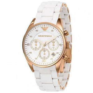 EMPORIO ARMANI | White / Rose Gold Ladies' Chronograph Watch | AR5920