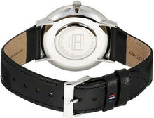 TOMMY HILFIGER | Silver / Black Leather Men's Slim Watch | 1710351