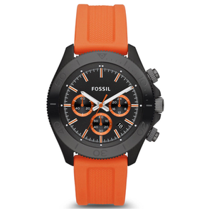 FOSSIL | Black / Orange Men's Retro Traveler Chronograph Watch | CH2873