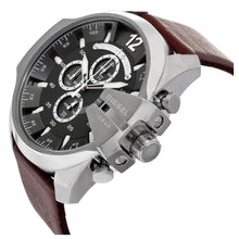 DIESEL | Grey / Gunmetal / Brown Leather Mega Chief Men's Chrono Watch | DZ4290