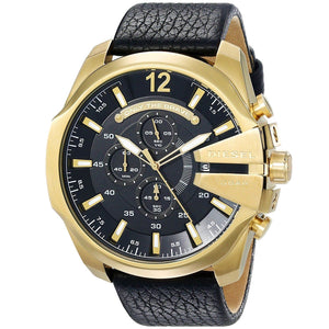 DIESEL | Gold / Black Leather Mega Chief Men's Chronograph Watch | DZ4344