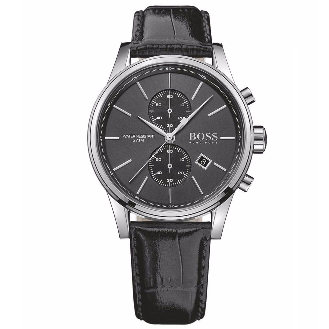 HUGO BOSS | Silver / Black Leather Men's Chronograph Jet Watch | 1513279
