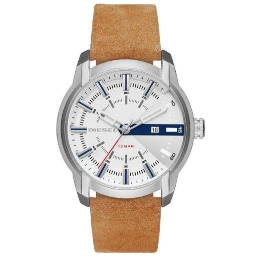 DIESEL | White / Silver / Tan Leather Men's Armbar Watch | DZ1783