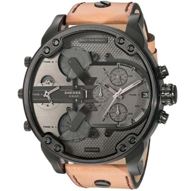 DIESEL | Gunmetal / Brown Leather Mr. Daddy 2.0 Men's Chronograph Watch | DZ7406