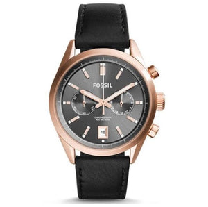 FOSSIL | Del Rey Chronograph Gunmetal / Black Leather Men's Watch | CH2991