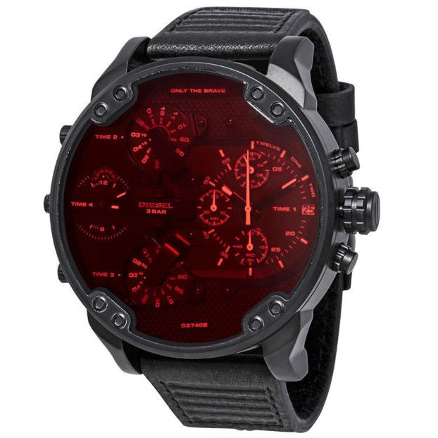 DIESEL | Red / Black Leather Mr. Daddy 2.0 Men's Chrono Watch | DZ7402
