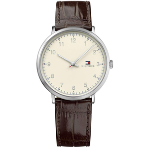 TOMMY HILFIGER | Beige / Silver / Brown Leather Men's James Watch | 1791338