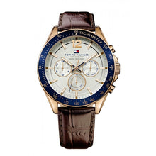 TOMMY HILFIGER | White / Blue / Gold / Brown Leather Men's Luke Watch | 1791118