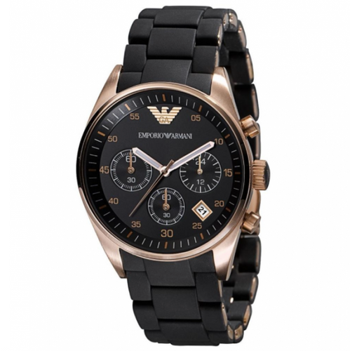 EMPORIO ARMANI | Black / Rose Gold Ladies' Chronograph Watch | AR5906