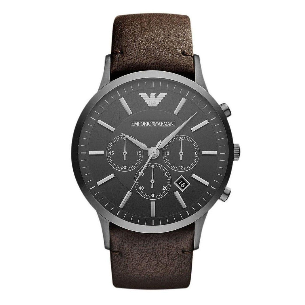 EMPORIO ARMANI | Grey / Silver / Brown Leather Men's Sportivo Watch | AR2462
