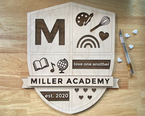 CUSTOM HOMESCHOOL CREST | ENGRAVED WOOD PLAQUE
