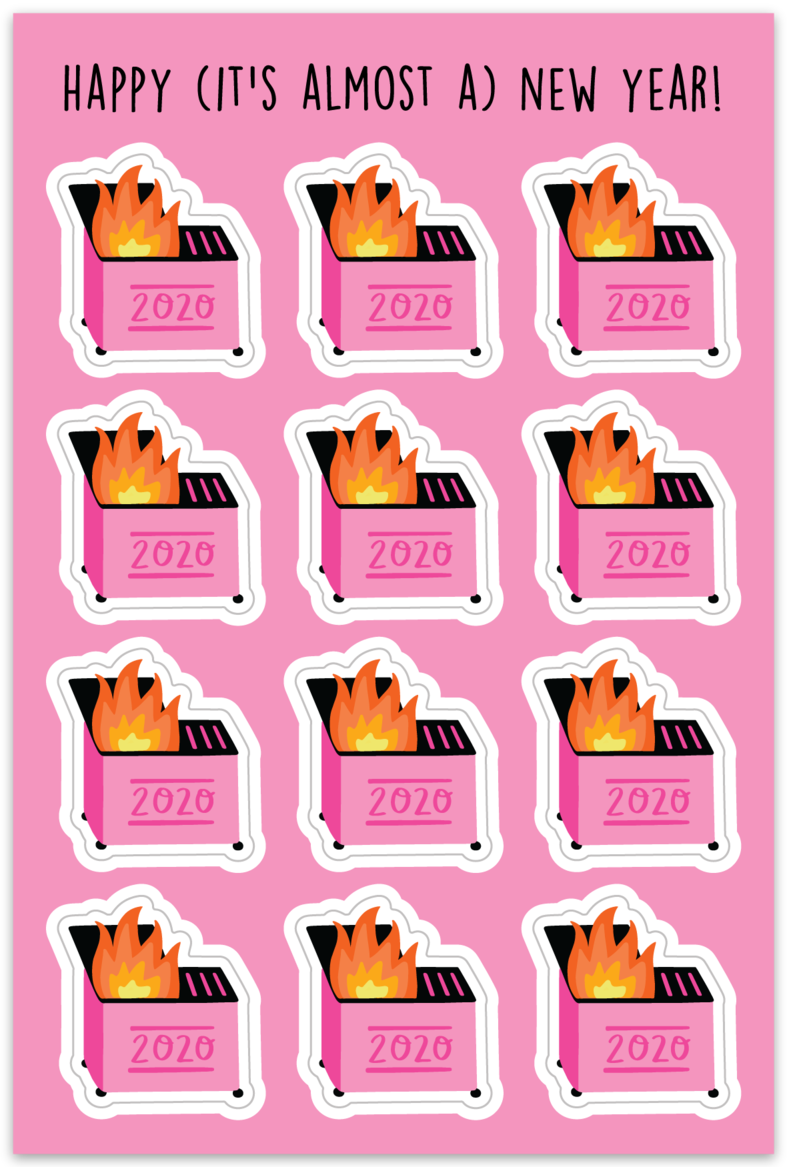 PINK DUMPSTER FIRE | TEENY STICKERS