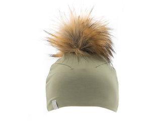Lox Lion - Olive Green Pom Beanie – Giggle Boutique 4a1f099a7dd