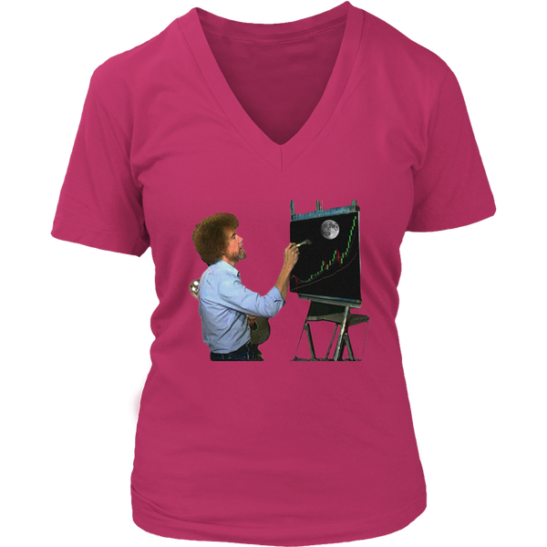 Bob Ross Crypto Night Painting Women's V-Neck Tshirt