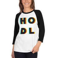 3D HODL 3/4 Sleeve Raglan Women's Shirt