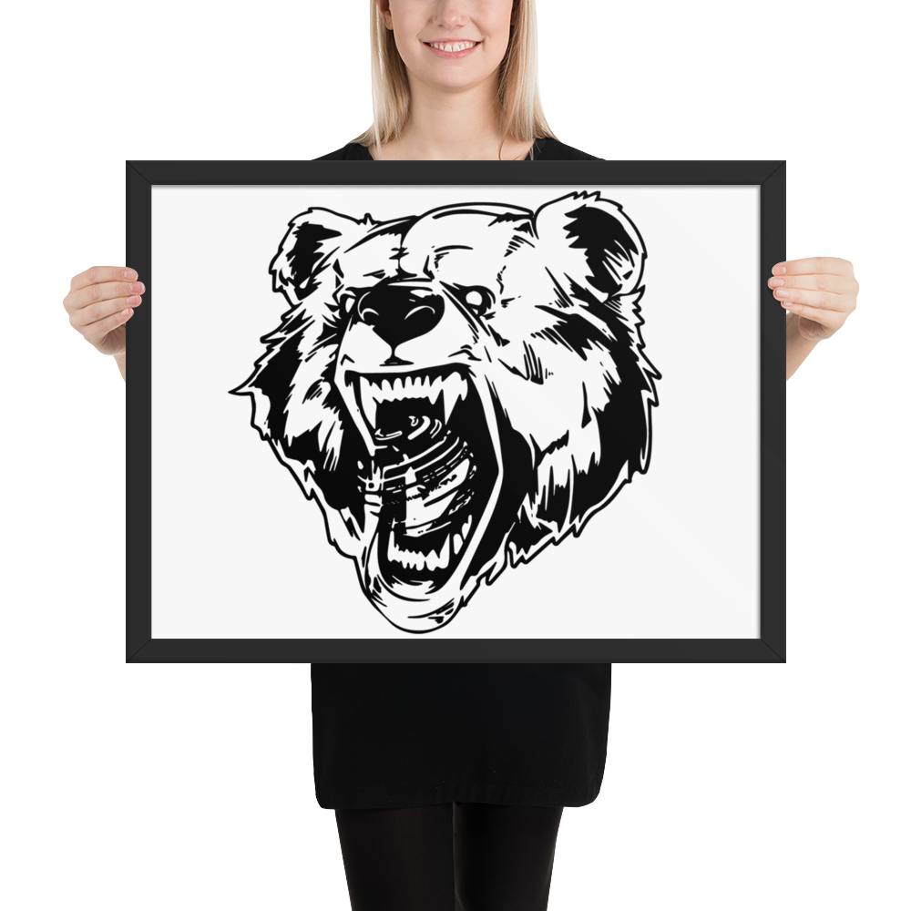 Framed Inky Factom Grizzly Bear Poster