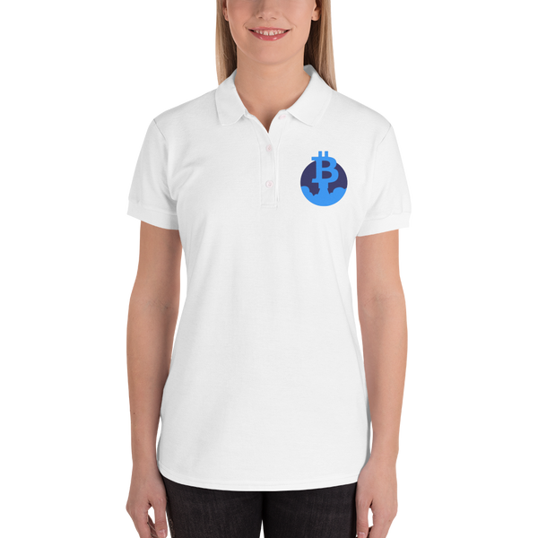 Rocket Bitcoin Embroidered Women's Polo Shirt