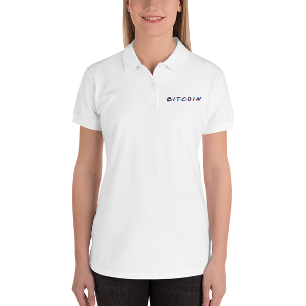 3D Bitcoin Embroidered Women's Polo Shirt