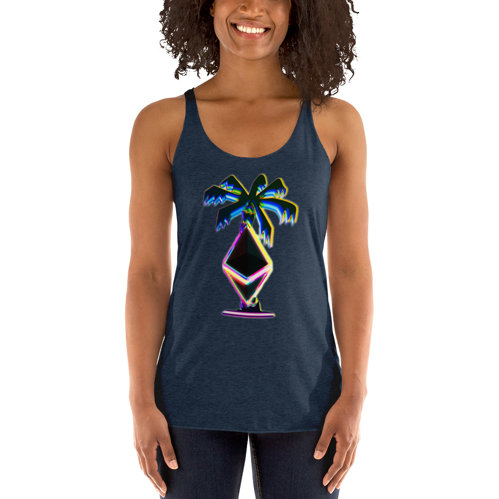 3D Ethereum Palm Tree Women's Racerback Tank