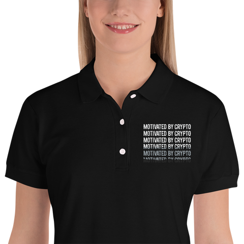 Motivated By Crypto Embroidered Women's Polo Shirt