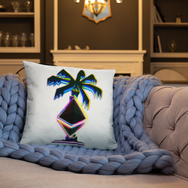 3D Ethereum Palm Tree Throw Pillow