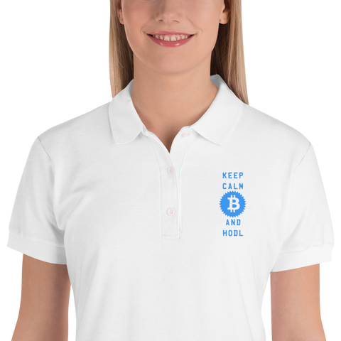 Keep Calm And Hodl Bitcoin Embroidered Women's Polo Shirt