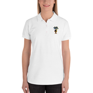3D Ethereum Palm Tree Embroidered Women's Polo Shirt