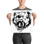 Litecoin Grizzly Bear Poster