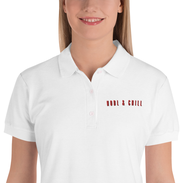 Hodl And Chill Embroidered Women's Polo Shirt