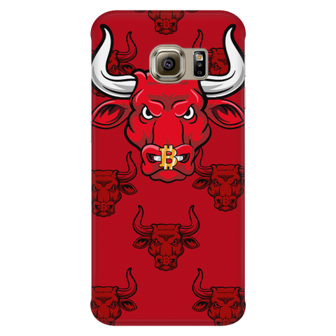 Samsung Galaxy S6 Edge Red Bitcoin Bull Phone Case