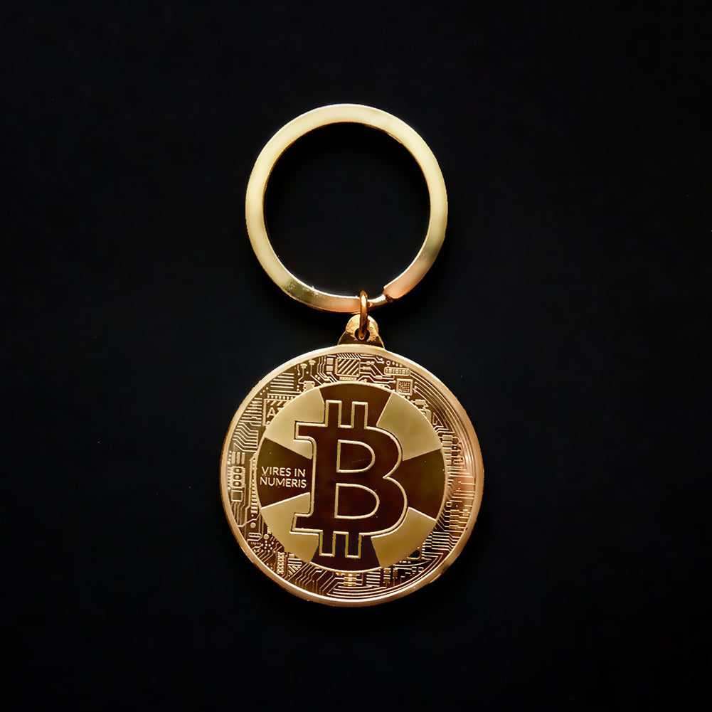 24K Gold, Silver And Bronze Plated Vires In Numbers Bitcoin Keychain