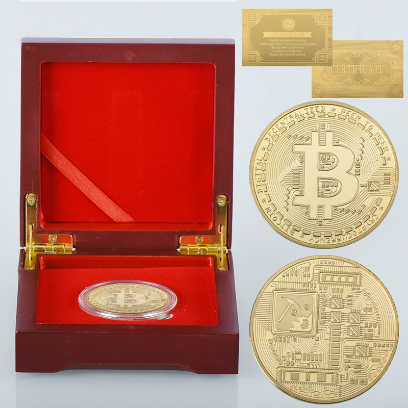 24K Gold And Silver Plated Bitcoin Commemorative Coins with Special Edition Royale Red Coin Collector Box And 24K Gold Certificate